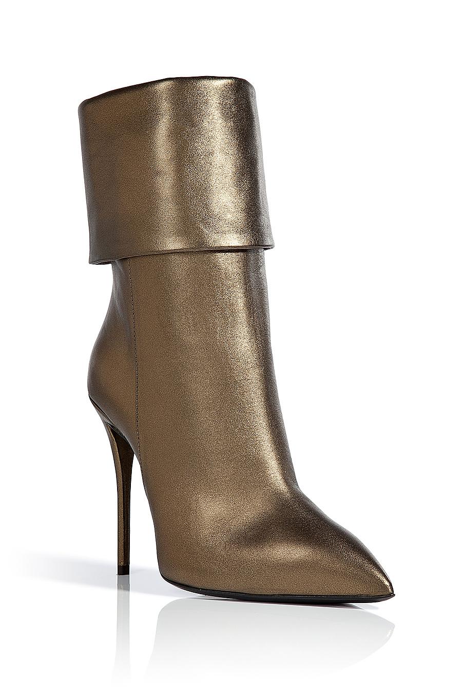 Giuseppe Zanotti Metallic Leather Ankle Boots In Bronze