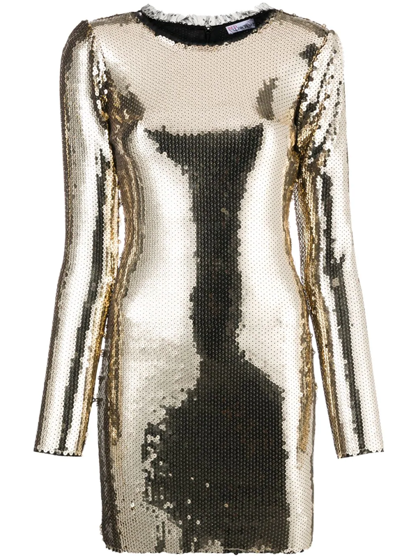 Red Valentino Sequin-embellished Mini Dress In Gold