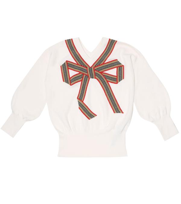 Burberry Kids' Merino Wool And Silk Sweater In White