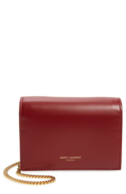 Saint Laurent Leather Card Case On A Chain In Rouge Opium