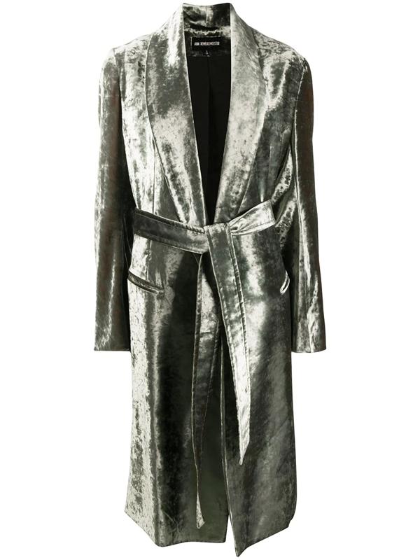 Ann Demeulemeester Wrap Velvet Knee Length Dust Coat W/belt In 049 Green