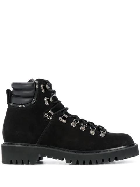 Valentino Garavani Vltn Leather Hiking Boots In Black