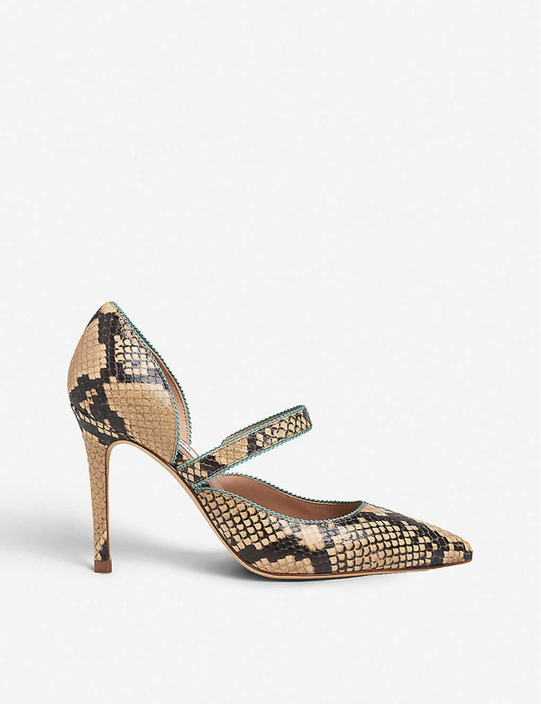 Lk Bennett Florence Picot-trim Snake-print Leather Courts