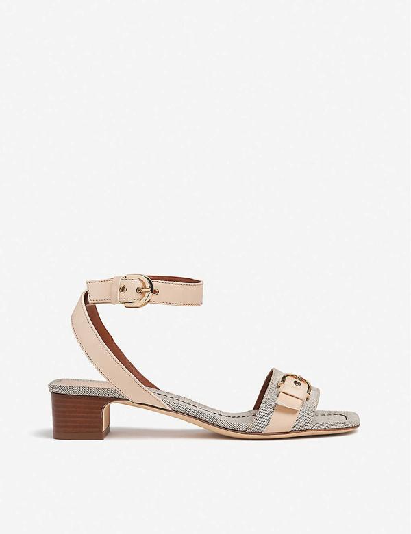Lk Bennett Sadie Leather And Canvas Sandals