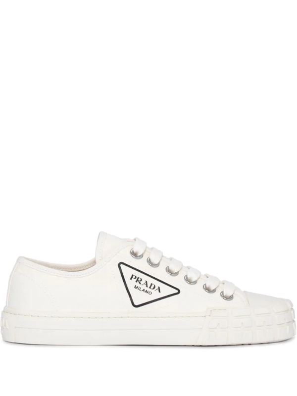 Prada Wheel Re-nylon Sneakers In White