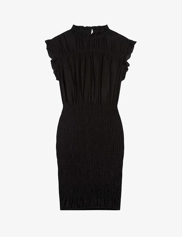 Maje Riksa Ruffle Woven Midi Dress In Black