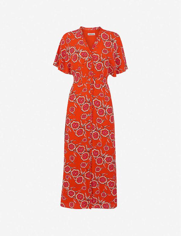 Whistles Ella Floral-print Crepe Midi Dress In Red Multi