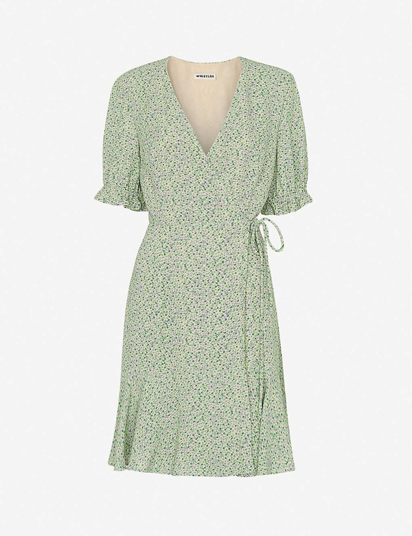 Whistles English Garden Floral-print Crepe Mini Wrap Dress In Green Multi