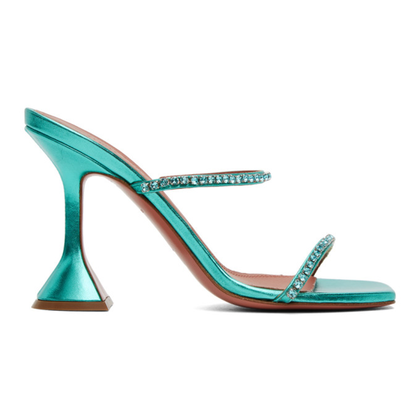 Amina Muaddi Gilda Crystal-embellished Metallic-leather Heeled Sandals In Mermaidazur