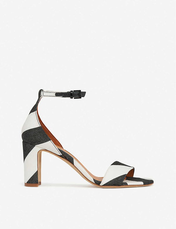 Lk Bennett Nissi Striped Satin Heeled Sandals