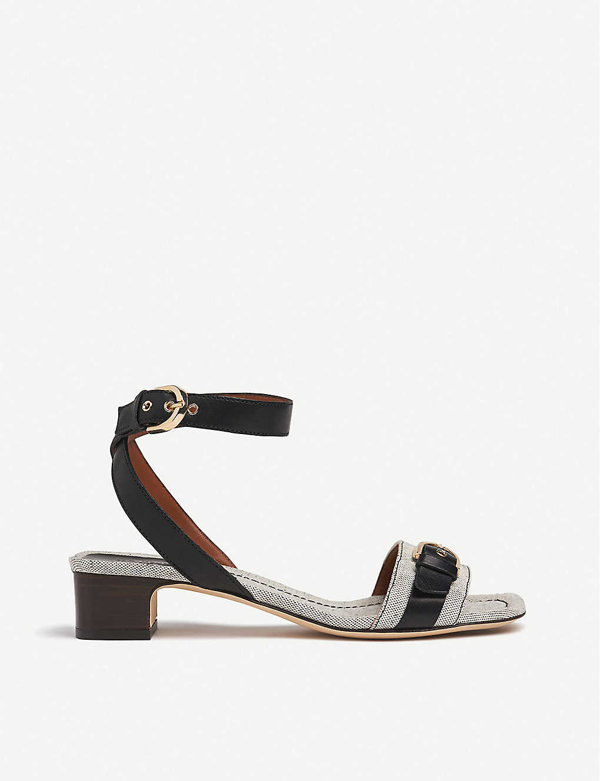 Lk Bennett Sadie Buckled Leather And Canvas Sandals