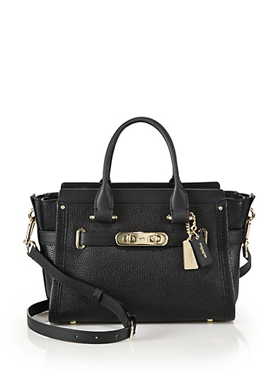 Coach Swagger Small Pebbled Leather Satchel In Black