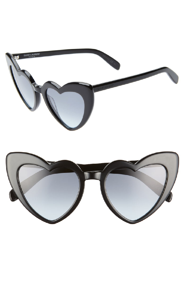 eda96a54bd8e4 Saint Laurent Lou Lou Oversized Heart Sunglasses In Black  Grey Blue  Gradient