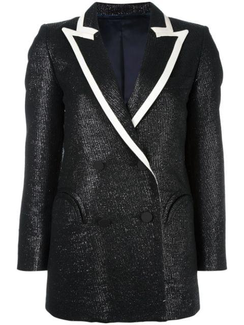 Blazé Milano Moonfleet Everyday Peak-lapel Tweed Blazer In Black