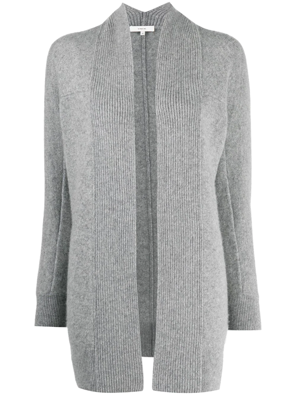 Vince Open-front Mid-length Cardigan In Grey