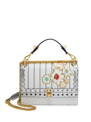 da274dcecf Fendi Kan I Mini Floral-Embroidered Chain Shoulder Bag, White/Silver ...