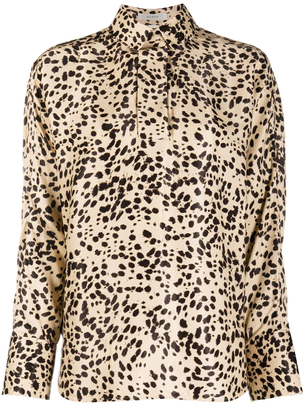 Aeron Animal Print Long-sleeve Shirt In Neutrals