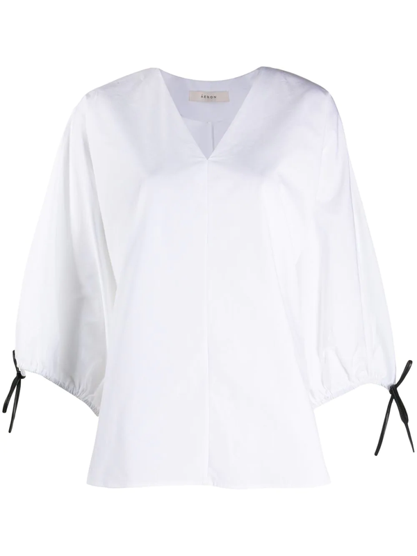 Aeron Sleeve-tie V-neck Blouse In White
