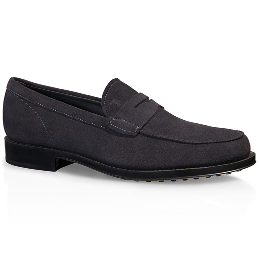 Tod's Men's Suede Loafers Moccasins In Blue