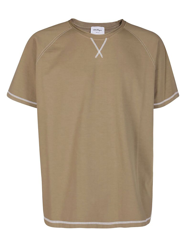 Salvatore Ferragamo Khaki Green Cotton T-shirt In Beige