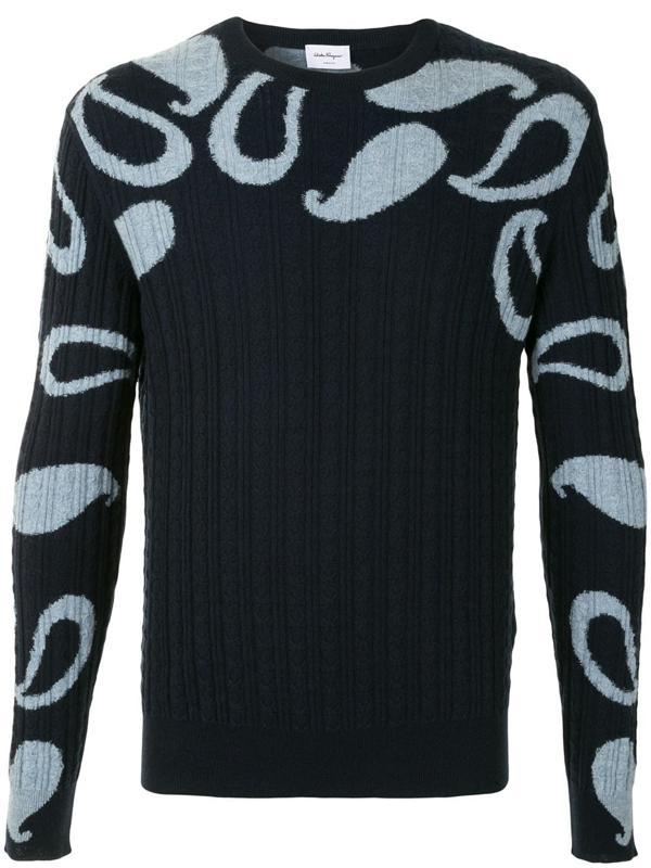 Salvatore Ferragamo Round Neck Sweater With Jacquard Paisley In Blue