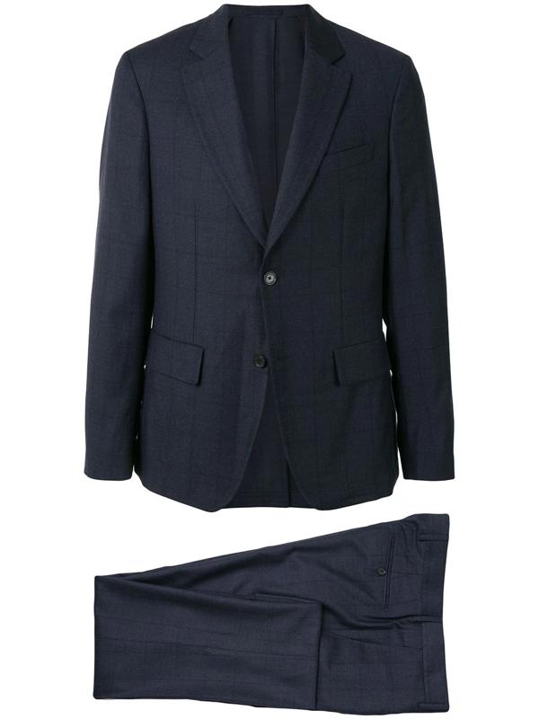 Salvatore Ferragamo Single-breasted Checked Suit In Blue
