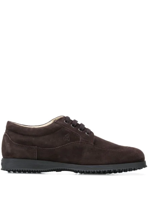 Hogan Women's Shoes Suede Trainers Sneakers Traditional In Brown