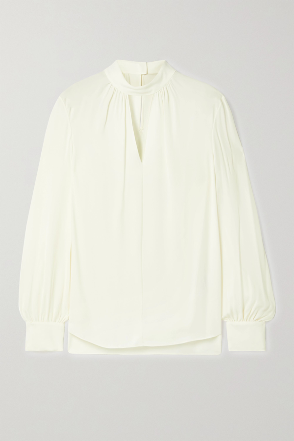 Theory Cutout Silk Crepe De Chine Blouse In Ivory