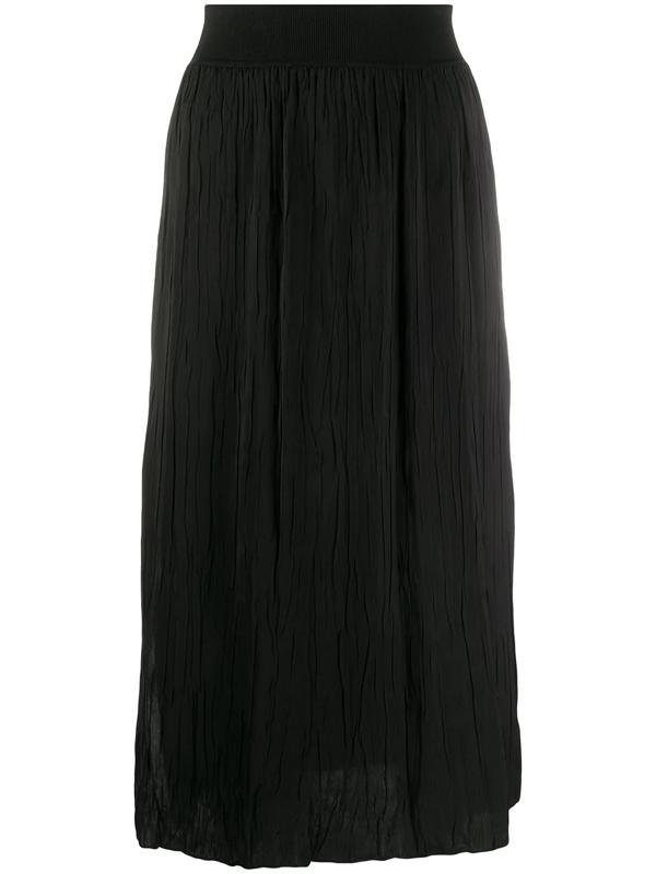Theory Pleated Georgette Midi Skirt In Black