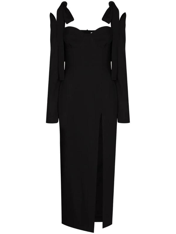 Aleksandre Akhalkatsishvili Cold-shoulder Wool-twill Midi Dress In Black