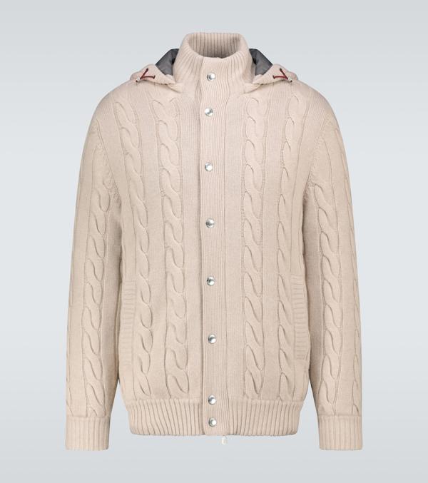 Brunello Cucinelli Padded Cashmere Cardigan In Beige