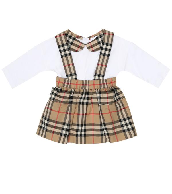 Burberry Baby Girl's Suki Two-piece Bodysuit & Pinafore Set In White