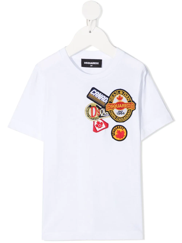 Dsquared2 Kids' Cotton Jersey T-shirt W/ Patches In White