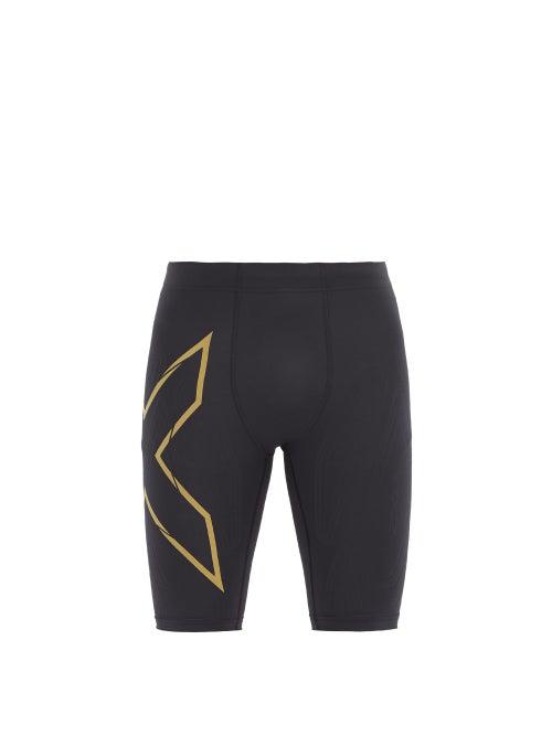 2xu Mcs Compression Running Shorts In Black Gold
