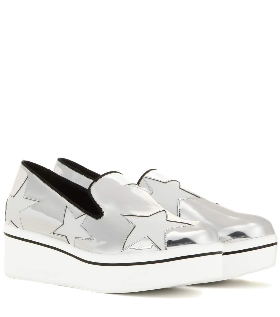 Stella Mccartney Binx Metallic Star Loafer, Indium/white In Silver