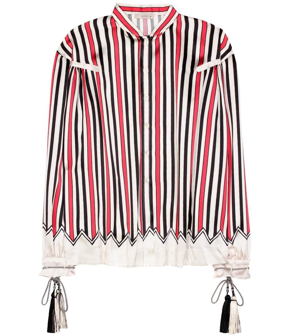 Etro Striped Silk Shirt In Multicoloured