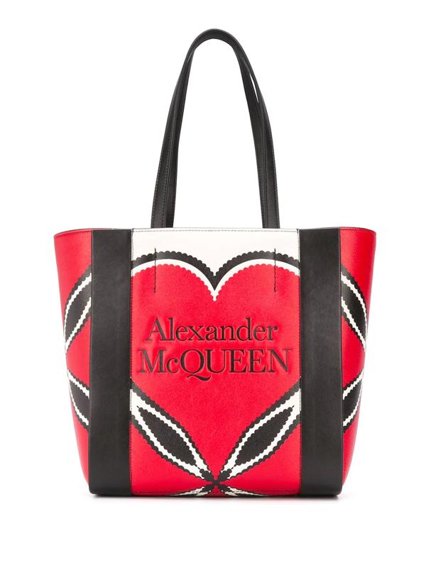 Alexander Mcqueen Engraved Logo Tote In Multicolor/black