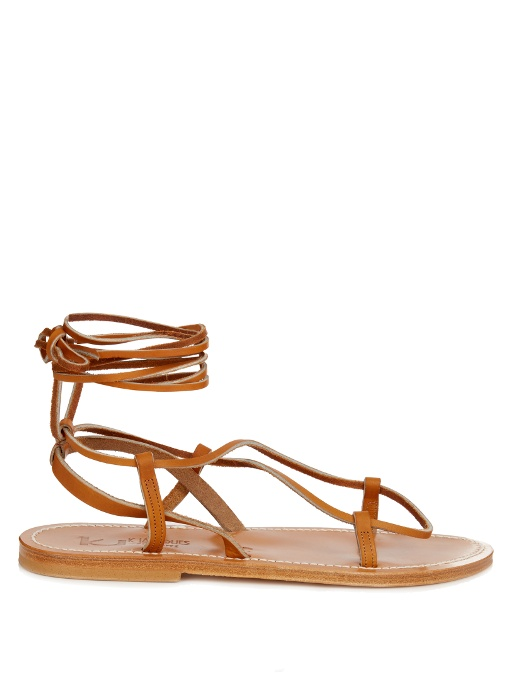 pretty nice f1af9 e5467 Thebes Leather Sandals in Tan-Brown