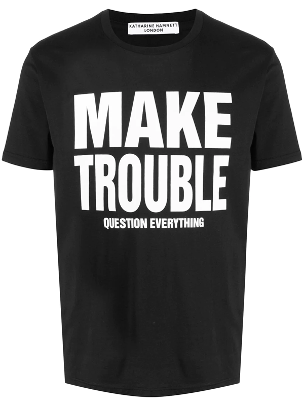 Katharine Hamnett Slogan Print Organic Cotton T-shirt In Black