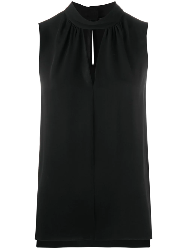 Theory Sleeveless Silk Blouse In Black
