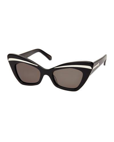 c86566c2828 Karen Walker Babou Black Cat-Eye Acetate And Metal Sunglasses In Black   Silver