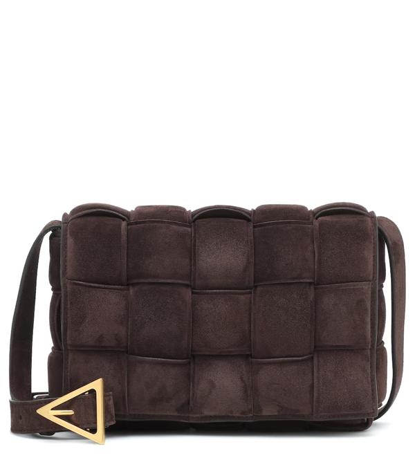 Bottega Veneta Padded Cassette Intrecciato Suede Cross-body Bag In Brown