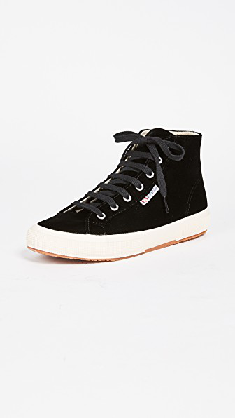 Superga Womens Suede High-Top Sneakers In Black  Modesens-8590