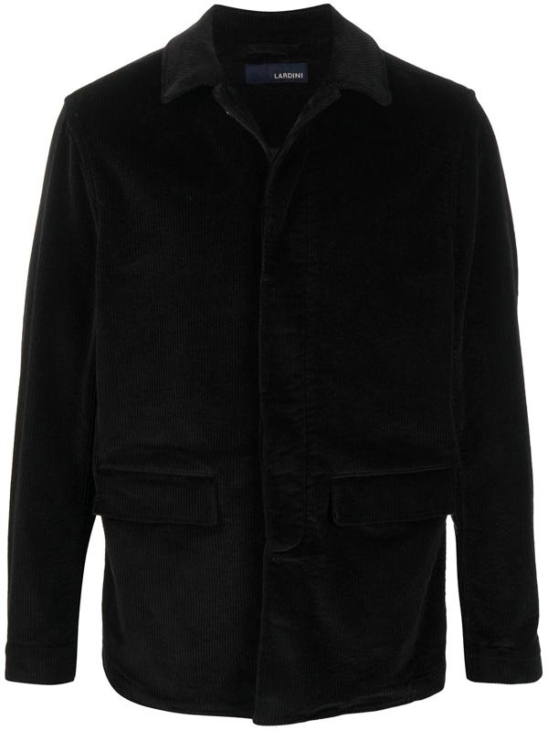 Lardini Spread Collar Single Breasted Jacket In Black