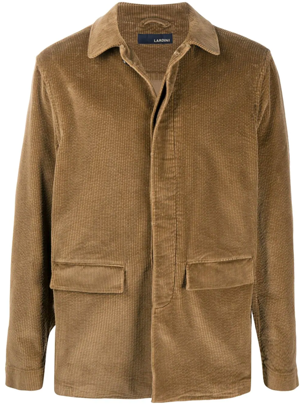 Lardini Spread Collar Single Breasted Coat In Brown
