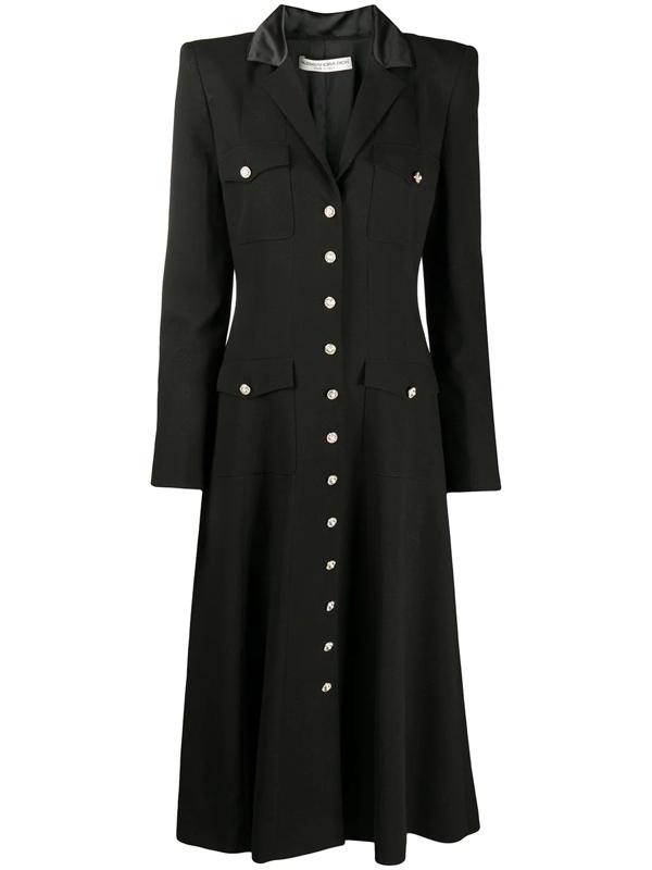Alessandra Rich Button-up Midi Dress In Black