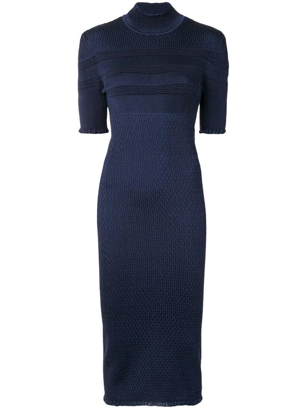 Fendi Ruffle Trim Smocked Silk Blend Body Con Dress In Blue
