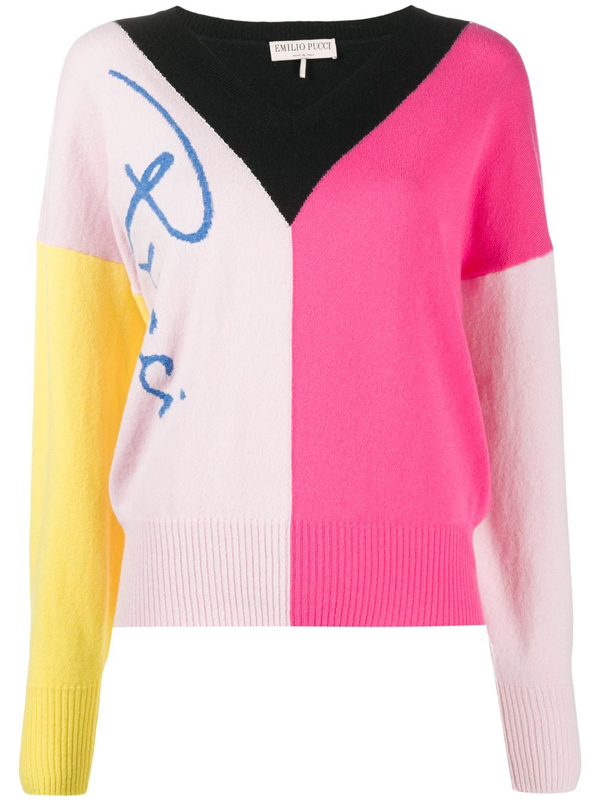 Emilio Pucci Colour-block Knitted Jumper In Pink