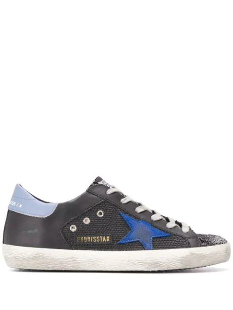Golden Goose Superstar Glittered Lace-up Trainers In Black
