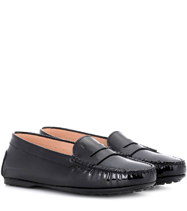 Tod's City Gommino Driving Shoes In Patent Leather In Eero